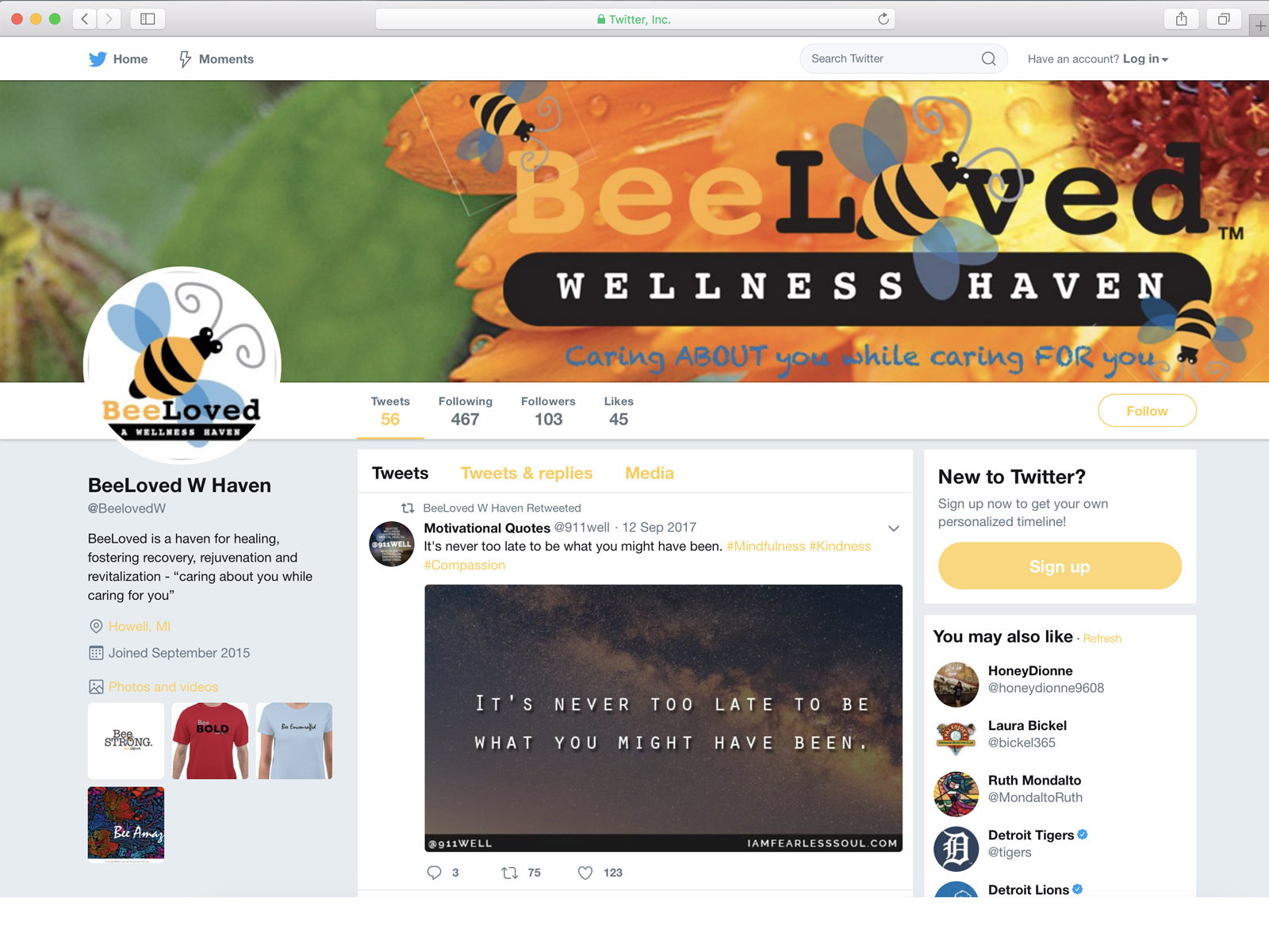 BeeLoved Twitter Page